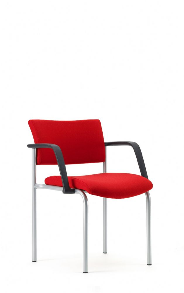 Pledge Arena Upholstered Square Back Visitor Chair With Four Leg Base